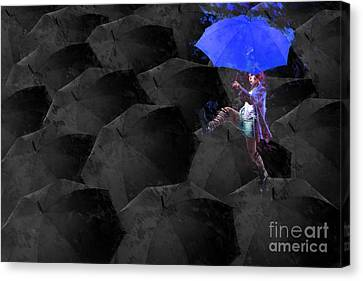 Clowning On Umbrellas 02 - A02- Blue Canvas Print by Variance Collections