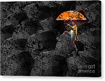 Clowning On Umbrellas 02 -a10a Canvas Print by Variance Collections