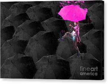 Clowning On Umbrellas 03 - 02a12 Canvas Print by Variance Collections
