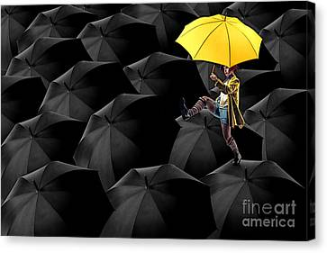 Clowning On Umbrellas 03-a13-1 Canvas Print by Variance Collections