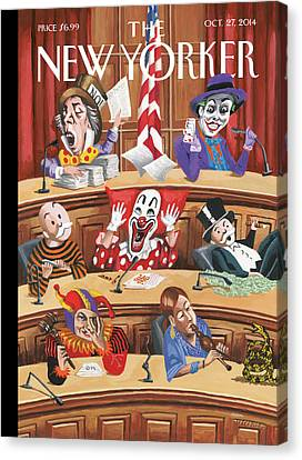 Clowns, Fools And Jokers Preside Over Congress Canvas Print by Mark Ulriksen