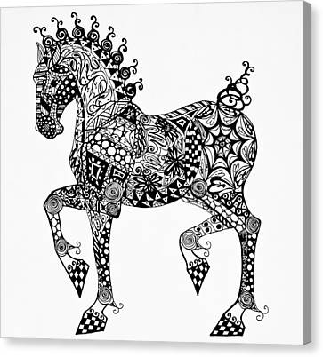 Clydesdale Foal - Zentangle Canvas Print by Jani Freimann