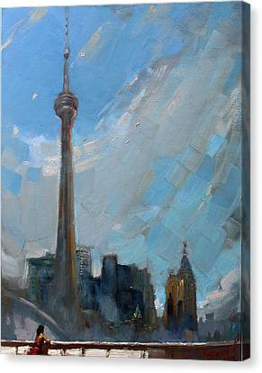 Cn Tower Toronto Canvas Print by Ylli Haruni