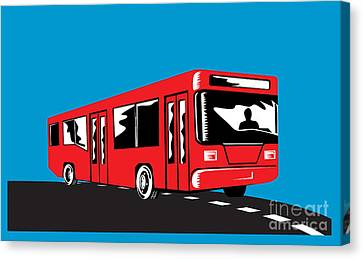 Coach Bus Shuttle Retro Canvas Print by Aloysius Patrimonio