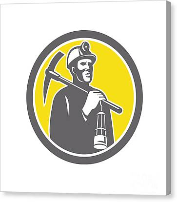 Coal Miner Hardhat With Pick Axe Lamp Front Circle Canvas Print by Aloysius Patrimonio