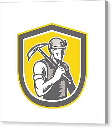 Coal Miner Pick Axe Shield Retro Canvas Print by Aloysius Patrimonio