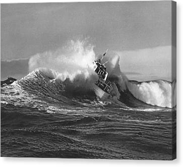 Coast Guard Surf Rescue Boat Canvas Print by Underwood Archives