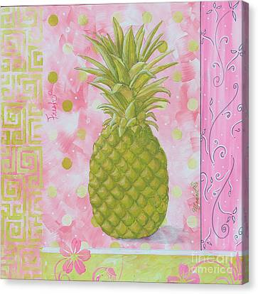 Coastal Decorative Pink Green Floral Greek Pattern Fruit Art Fresh Pineapple By Madart Canvas Print by Megan Duncanson