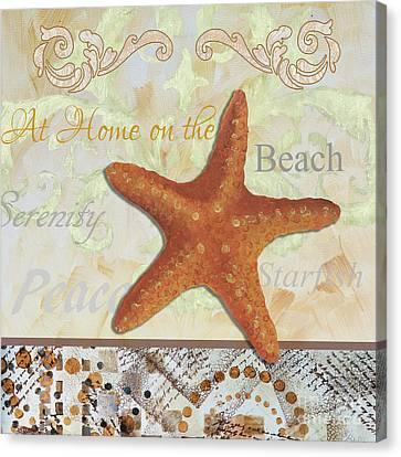 Coastal Decorative Starfish Painting Decorative Art By Megan Duncanson Canvas Print by Megan Duncanson