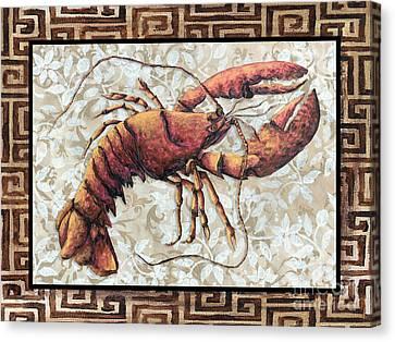 Coastal Lobster Decorative Painting Greek Border Design By Madart Studios Canvas Print by Megan Duncanson