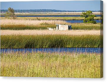 Coastal Marshlands With Old Fishing Boat Canvas Print by Bill Swindaman