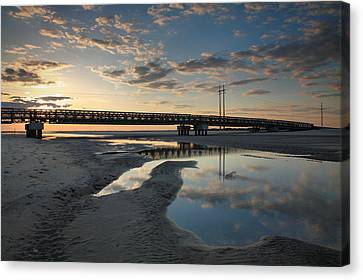 Coastal Ponds And Bridge I Canvas Print by Steven Ainsworth