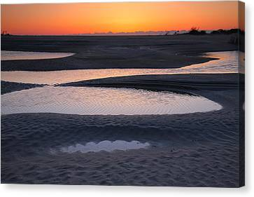 Coastal Ponds At Sunrise Canvas Print by Steven Ainsworth