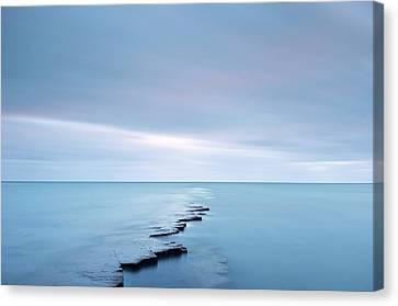 Coastal Rock Ledge At High Tide Canvas Print by Jeremy Walker