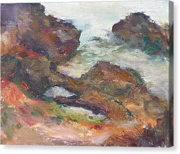 Coastal Rocks At Yachats - Original Seascape Painting Canvas Print by Quin Sweetman