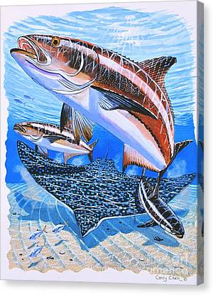 Cobia On Rays Canvas Print by Carey Chen