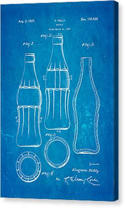 Coca Cola Bottle Patent Art 1937 Blueprint Canvas Print by Ian Monk