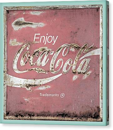 Coca Cola Pastel Grunge Sign Canvas Print by John Stephens