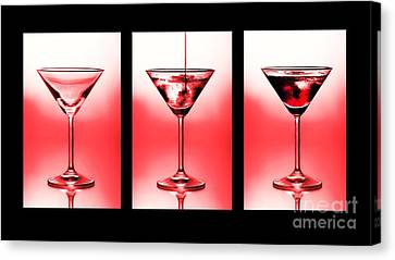 Cocktail Triptych In Red Canvas Print by Jane Rix