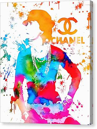 Coco Chanel Paint Splatter Canvas Print by Dan Sproul