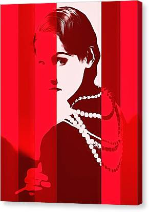 Coco Chanel Red Stripes Canvas Print by Dan Sproul