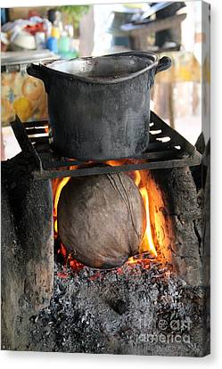 Coconut Stove Playa Paraiso Canvas Print by Linda Queally