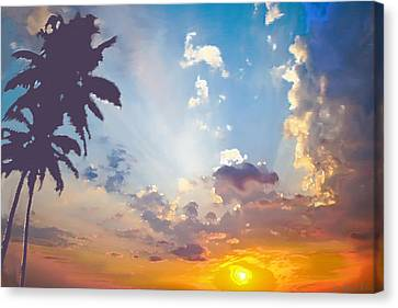 Coconut Trees In The Sunset Canvas Print by Dominique Amendola