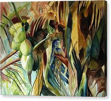 Coconuts And Palm Fronds 5-16-11 Julianne Felton Canvas Print by Julianne Felton