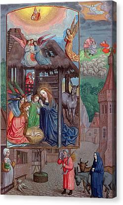 Codex Ser Nov 2844 Birth Of Christ, From The Rothschild Prayer Book Vellum Canvas Print by Flemish School