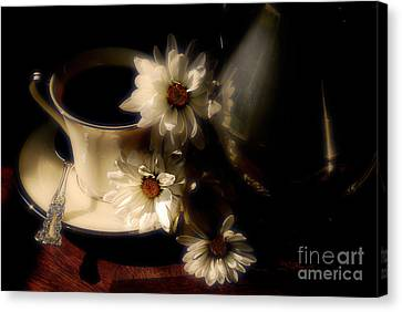 Coffee And Daisies  Canvas Print by Lois Bryan