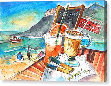 Coffee Break In Stavros In Crete Canvas Print by Miki De Goodaboom