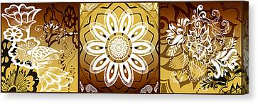 Coffee Flowers Calypso Triptych 2 Horizontal   Canvas Print by Angelina Vick