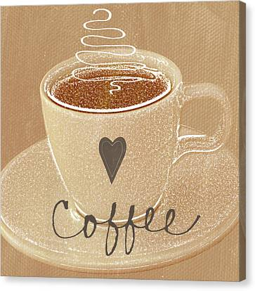 Coffee Love In Mocha Canvas Print by Linda Woods