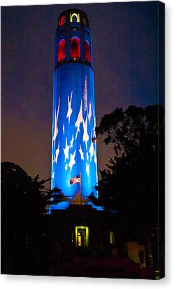 Coit Tower On The Anniversary Of 9/11 Canvas Print by Patricia Sanders