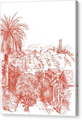 Coit Tower View From Russian Hill San Francisco Canvas Print by Irina Sztukowski