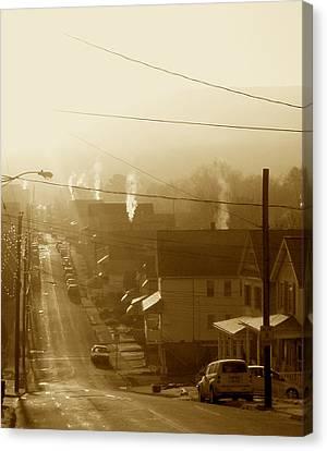 Cold Coal Town Morning Canvas Print by Feva  Fotos