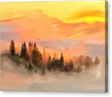 Cold Foggy Spring Morning Canvas Print by Angela A Stanton