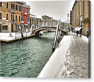 Canvas Print featuring the photograph Cold Winter In Venice by Thierry Bouriat
