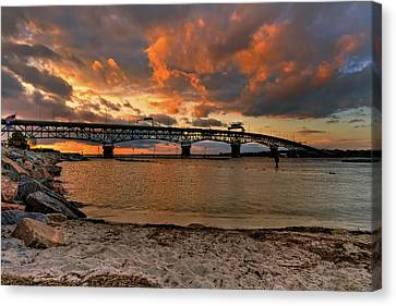 Coleman Bridge At Sunset Canvas Print by Jerry Gammon