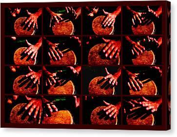 Collage Drum Bang Boom - Red Canvas Print by Alexander Senin