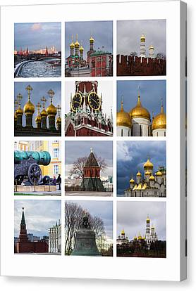Collage Moscow Kremlin 1 - Featured 3 Canvas Print by Alexander Senin
