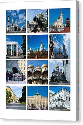 Collage Moscow Kremlin 2 - Featured 3 Canvas Print by Alexander Senin