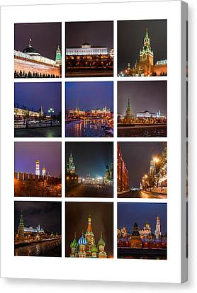 Collage Moscow Kremlin 3 - Featured 3 Canvas Print by Alexander Senin