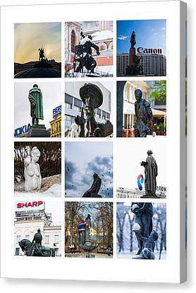 Collage - Moscow Monuments - Featured 3 Canvas Print by Alexander Senin
