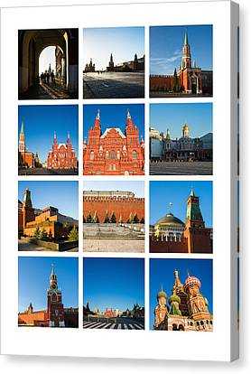 Collage - Red Square In The Morning Canvas Print by Alexander Senin