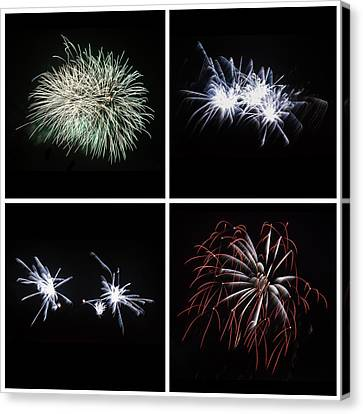Collection Of Bright Colorful Firework Burst Explosions On Black Canvas Print by Matthew Gibson
