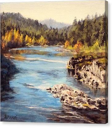 Colliding Rivers Fall Canvas Print by Karen Ilari