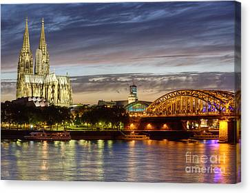 Cologne Cathedral With Rhine Riverside Canvas Print by Heiko Koehrer-Wagner
