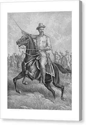 Colonel Roosevelt Leading Troops Canvas Print by War Is Hell Store