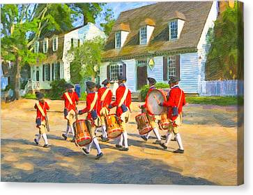 Colonial American Marching Band Canvas Print by Mark E Tisdale